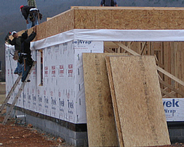 Apply housewrap moisture barrier.